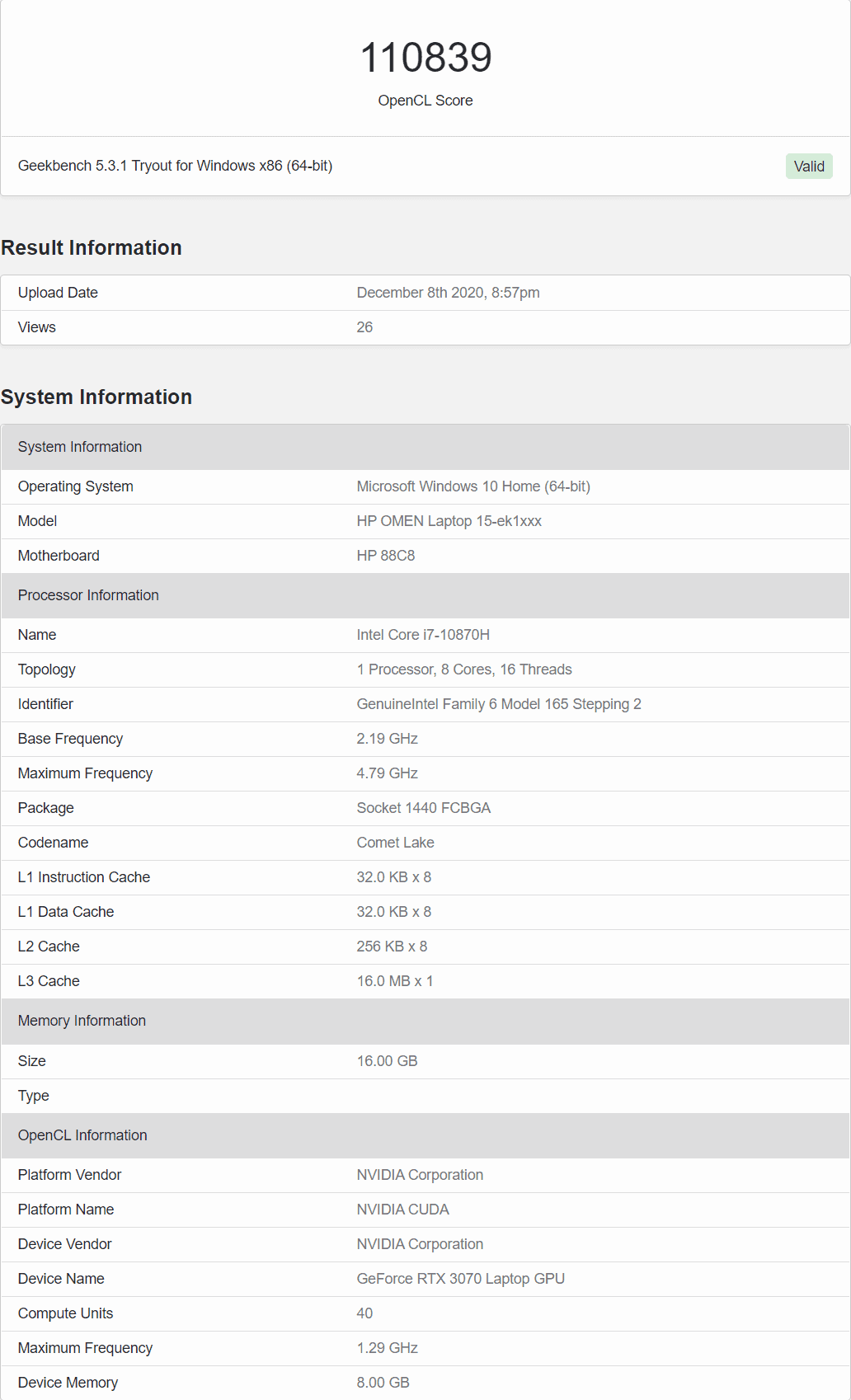 RTX 3070 mobile geekbench opencl test