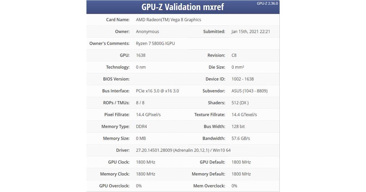 Ryzen 7 5800G GPUspecs