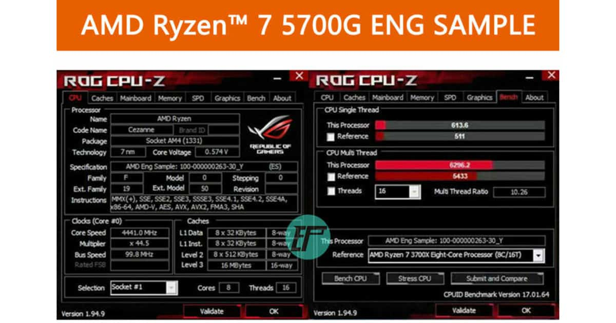 ROG CPU Z Ryzen 7 5700G