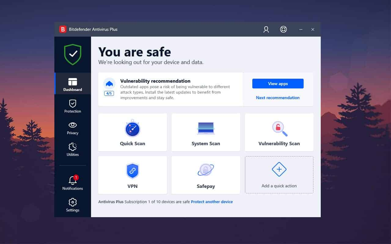 Bitdefender feature and Interface