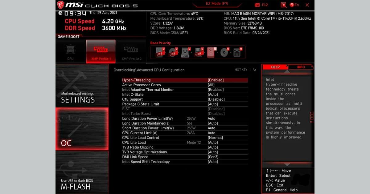 MSI MAG B560M Mortar WiFi BIOS