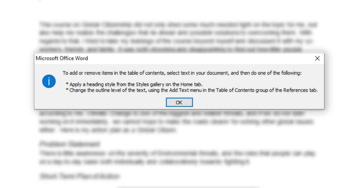 not format your text before inserting table of content