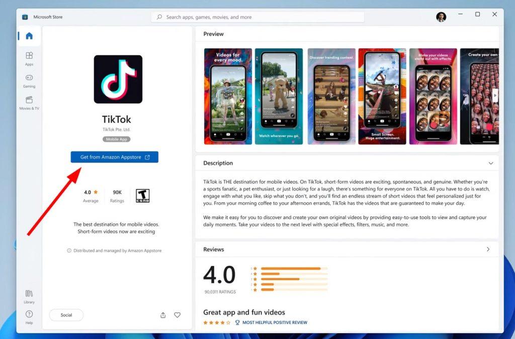 Tiktok in Amazon App Store of Windows 11