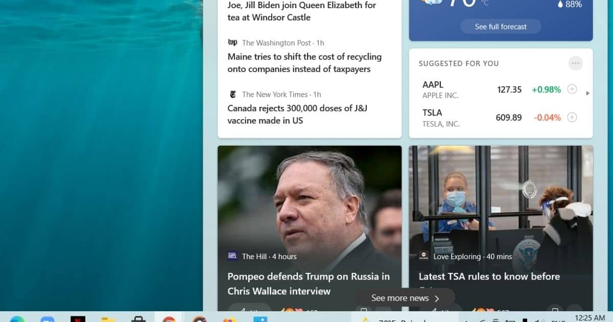 When you hover on the weather icon, a bug pop-up of the News and Interests section appears.