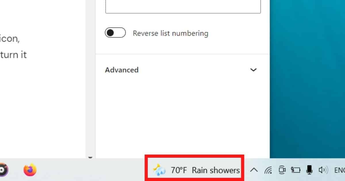 Right-click on the weather icon in the taskbar.