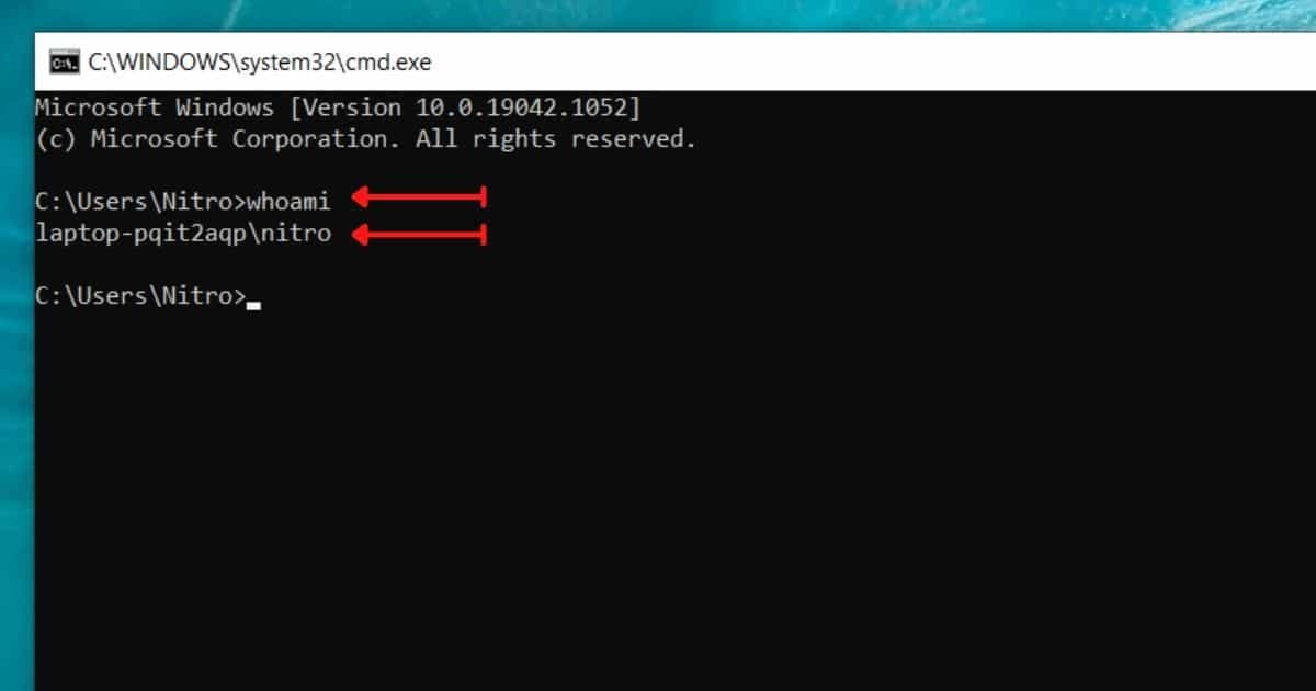 find your windows username by Running whoami command