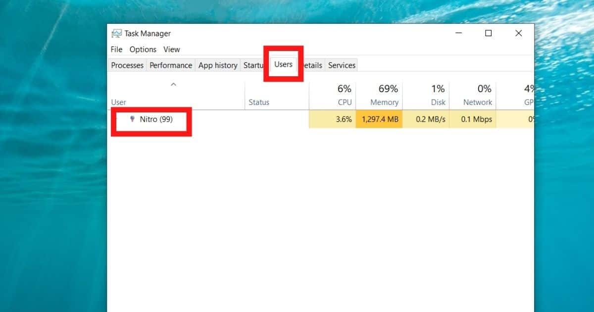 find your username in task manager