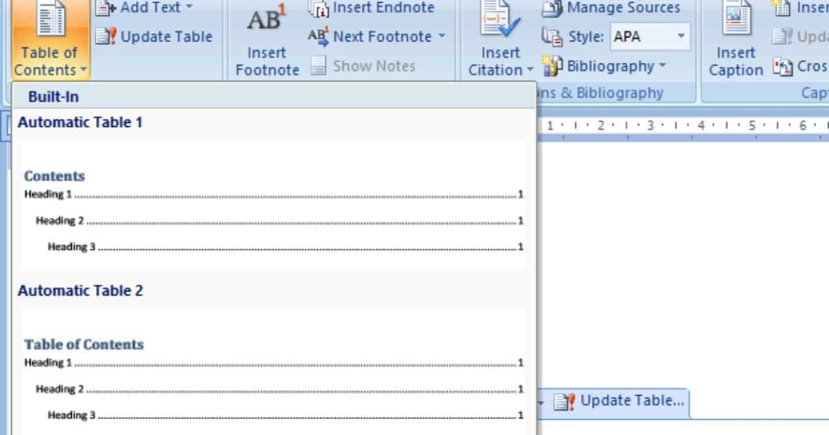 Automatic Tables One and Two are two easy options that provide limited formatting options, but are quick and simple.