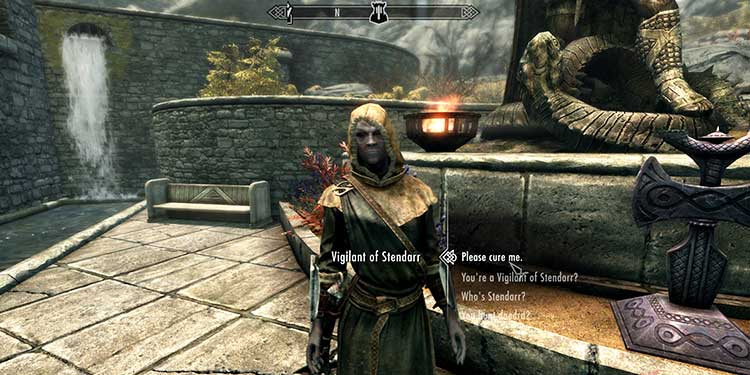 Asking a Vigilant of Stendarr to cure you