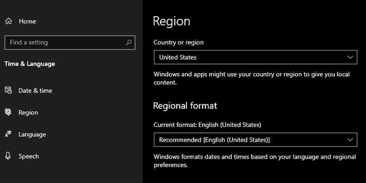 Change Country or Region