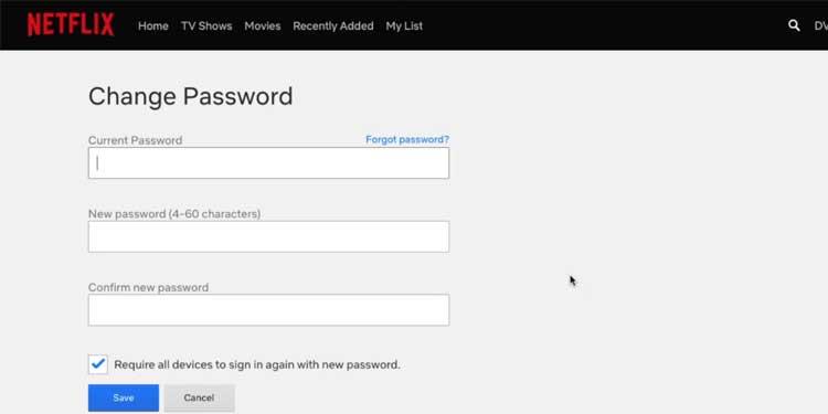 Change your Netflix Account Password