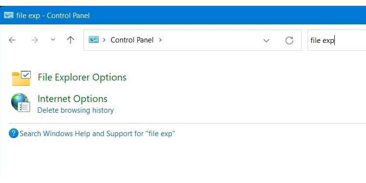 Control Panel File Explorer Options