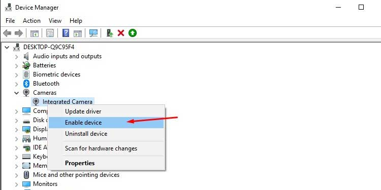 Enable Camera Device Driver