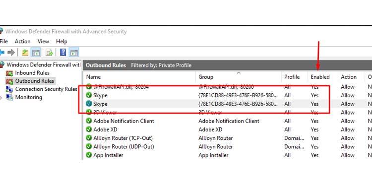 Enable Skype Windows Defender Firewall Setting
