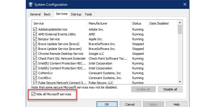 Hide Microsoft Services