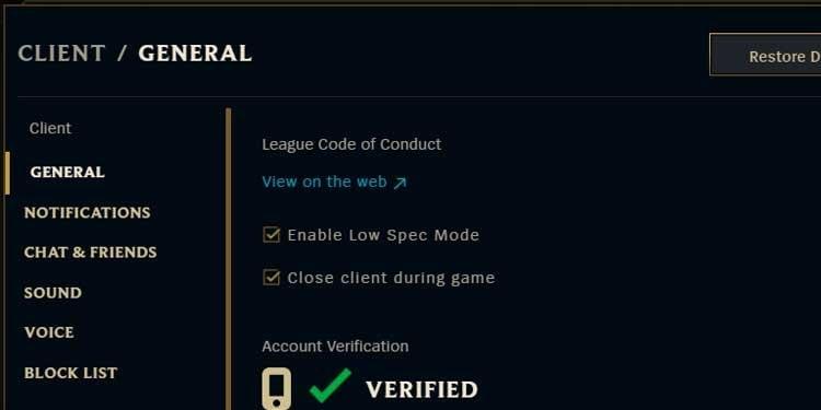 League of Legends Client General Setting