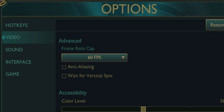 League of Legends Frame rate and anti-aliasing settings