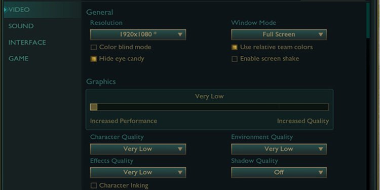 League of legends Video Graphic settings