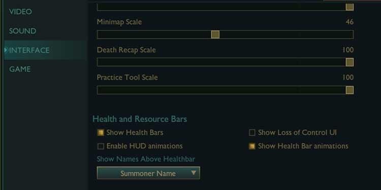 League of legends interface settings