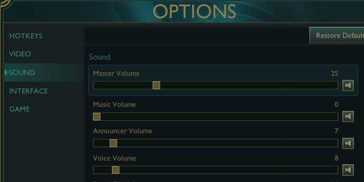 League of legends sound settings