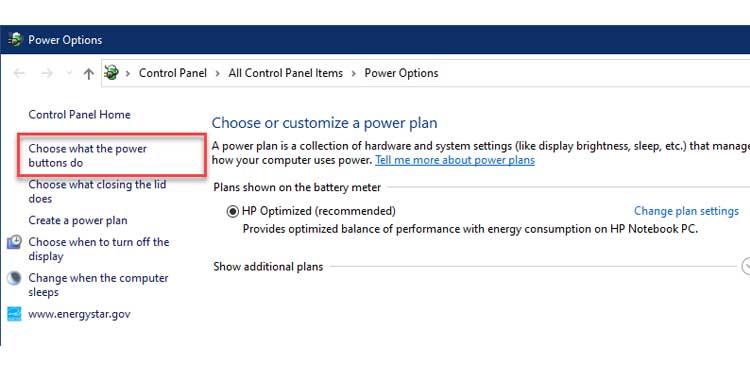 Power Options
