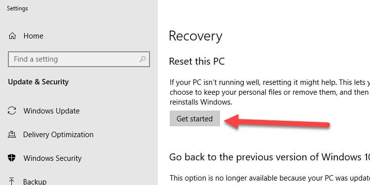 Recovery Setting