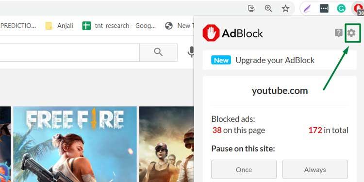 Settings on Adblock