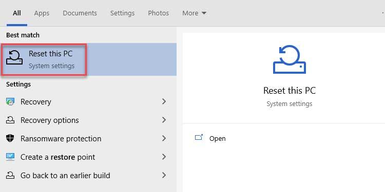System Reset Settings