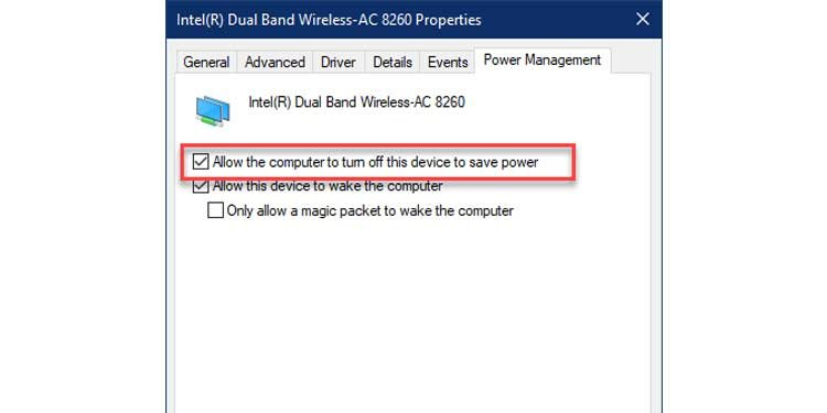 Uncheck Wireless Power Management Settings