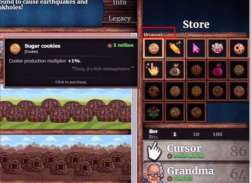 Upgrade in cookie clicker