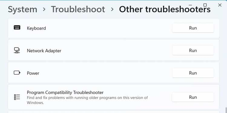 Windows 11 Other Troubleshooters Run
