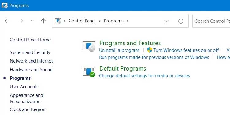 Windows 11 Programs and Features