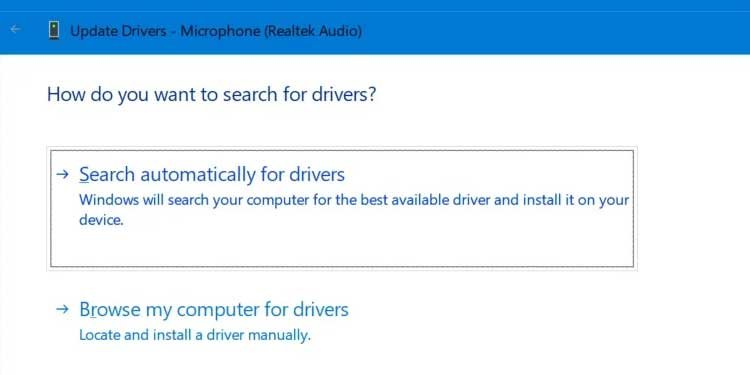 Windows 11 Search automatically for drivers