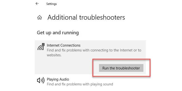 Windows Additional Troubleshooter