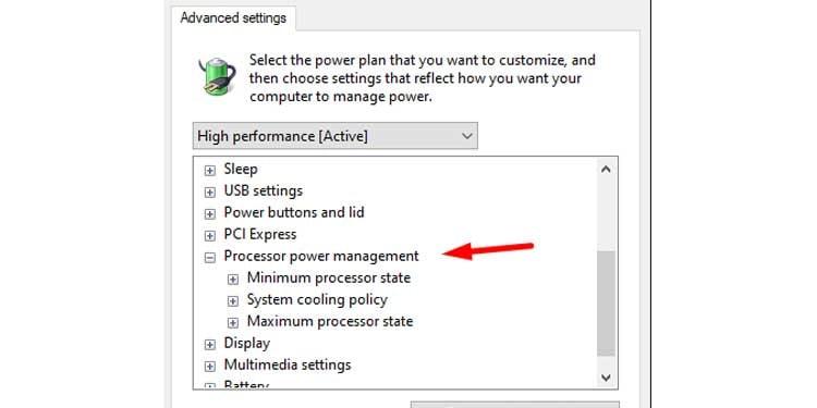 Windows Advanced Power Plan Settings