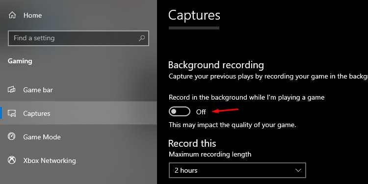 Windows Capture Background Recording Setting