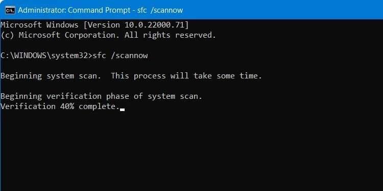 Windows Command Prompt sfc scannow