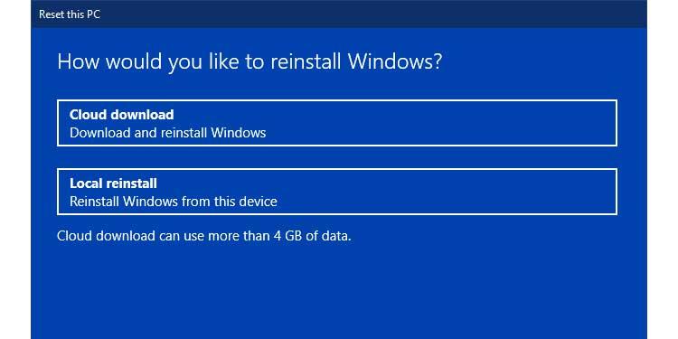 Windows Local Reinstall