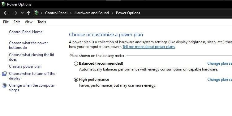 Windows Power Options High Performance