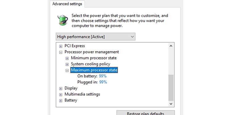 Windows Power Plan Maximum processor state