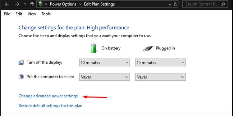 Windows Power Plan Settings