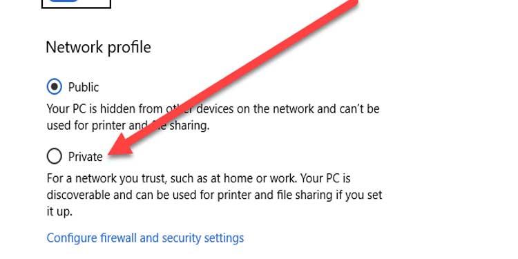 Windows Private Network Profile