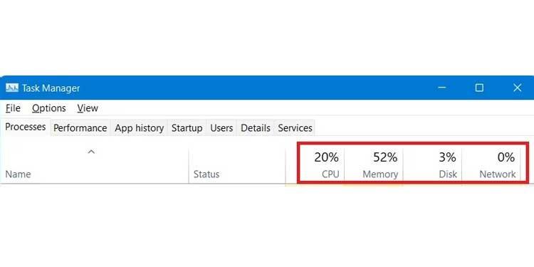 Windows Task Manager App CPU Memory Usages