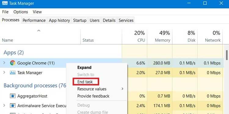 Windows File Explorer End Task