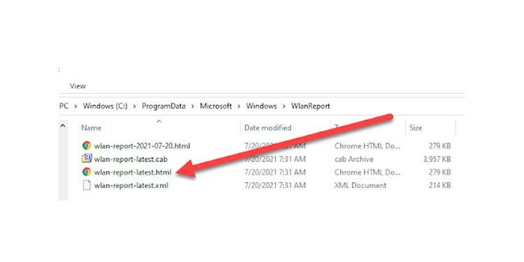 Windows WLAN Report html