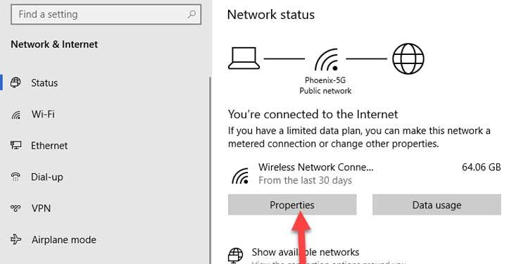 Windows Wireless connection properties
