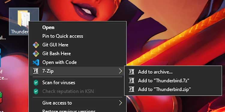 Zip Thunderbird Folder