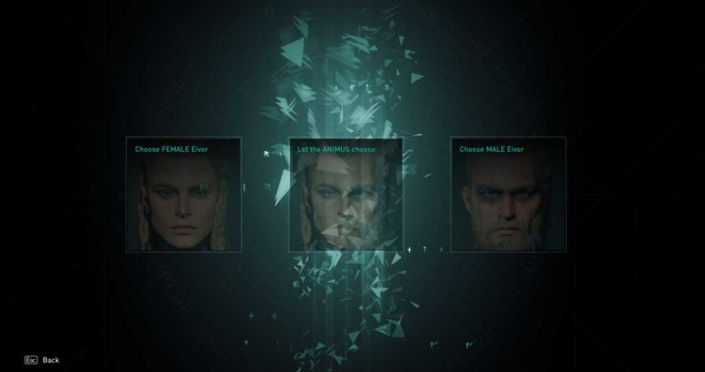 assassin creed Valhalla avatar selection