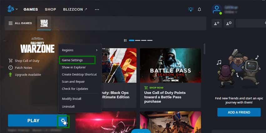 Battlenet Game Settings