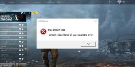Call of Duty Dev Error 6068